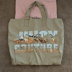 JUICY COUTURE Sequin Logo Canvas Tote Bag Taupe